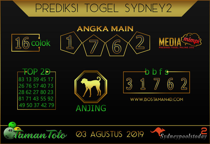 Prediksi Togel SYDNEY 2 TAMAN TOTO 03 AGUSTUS 2019