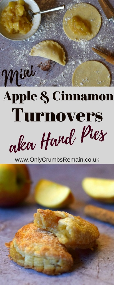 How to make apple & cinnamon turnovers, though you may know them as hand pies or even parels.  They're filled with an appleand cinnamon filling thickened with cornflour and encased in an easy cream cheese pastry.