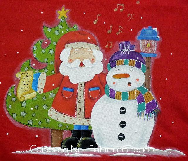 pano de copa com pintura country papai noel e boneco de neve