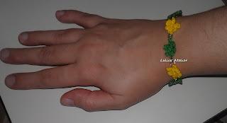 flor crochê, pulseira flor crochê, flor verde e amarela, pulseira do Brasil