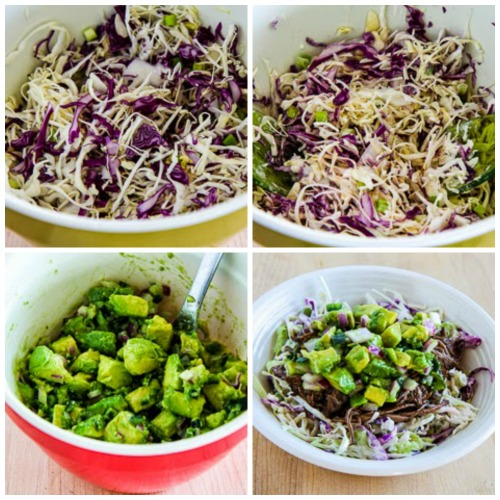 Slow Cooker Green Chile Shredded Beef Cabbage Bowl with Avocado Salsa found on KalynsKitchen.com