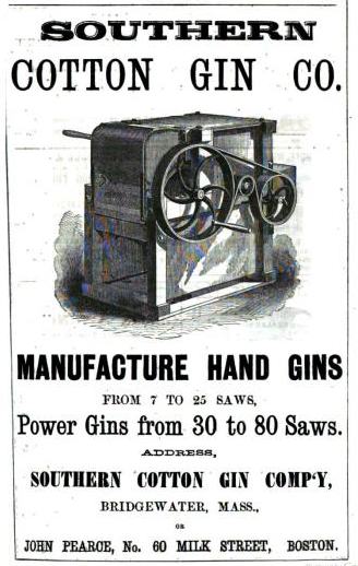 Old Ads Are Funny: 1868 ad: Southern Cotton Gin Co.