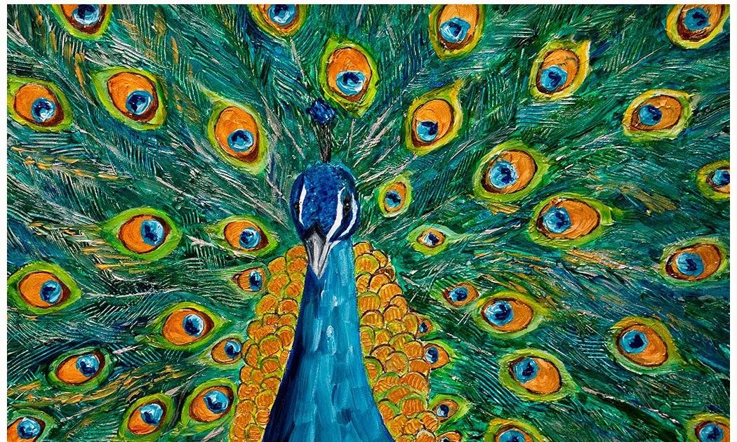 Peacock acrylic paintings - photo#36