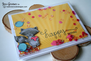 Birthday Shaker Card by Jess Gerstner using Newton's Nook Designs and WRMK Fuse Tool