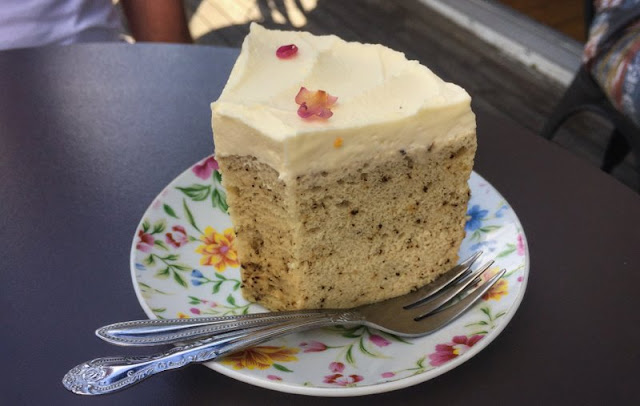 A slice of Earl Grey tea cake at Sinemei Tea, Paddington.