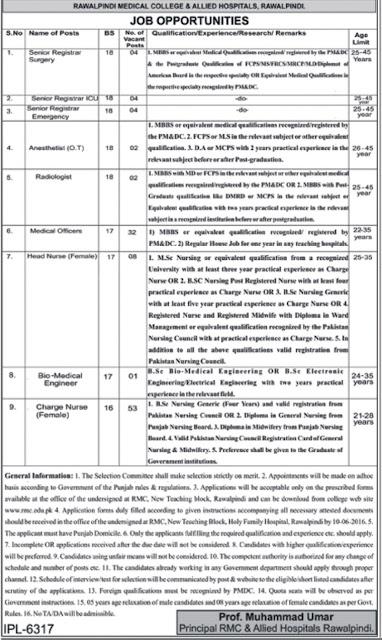 MBBS Doctors & Nurses Jobs in Rawalpindi Medical College & Allied Hospital Jobs RMC Jobs