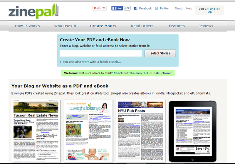 Zinepal is easy to use, just enter the URL or feed