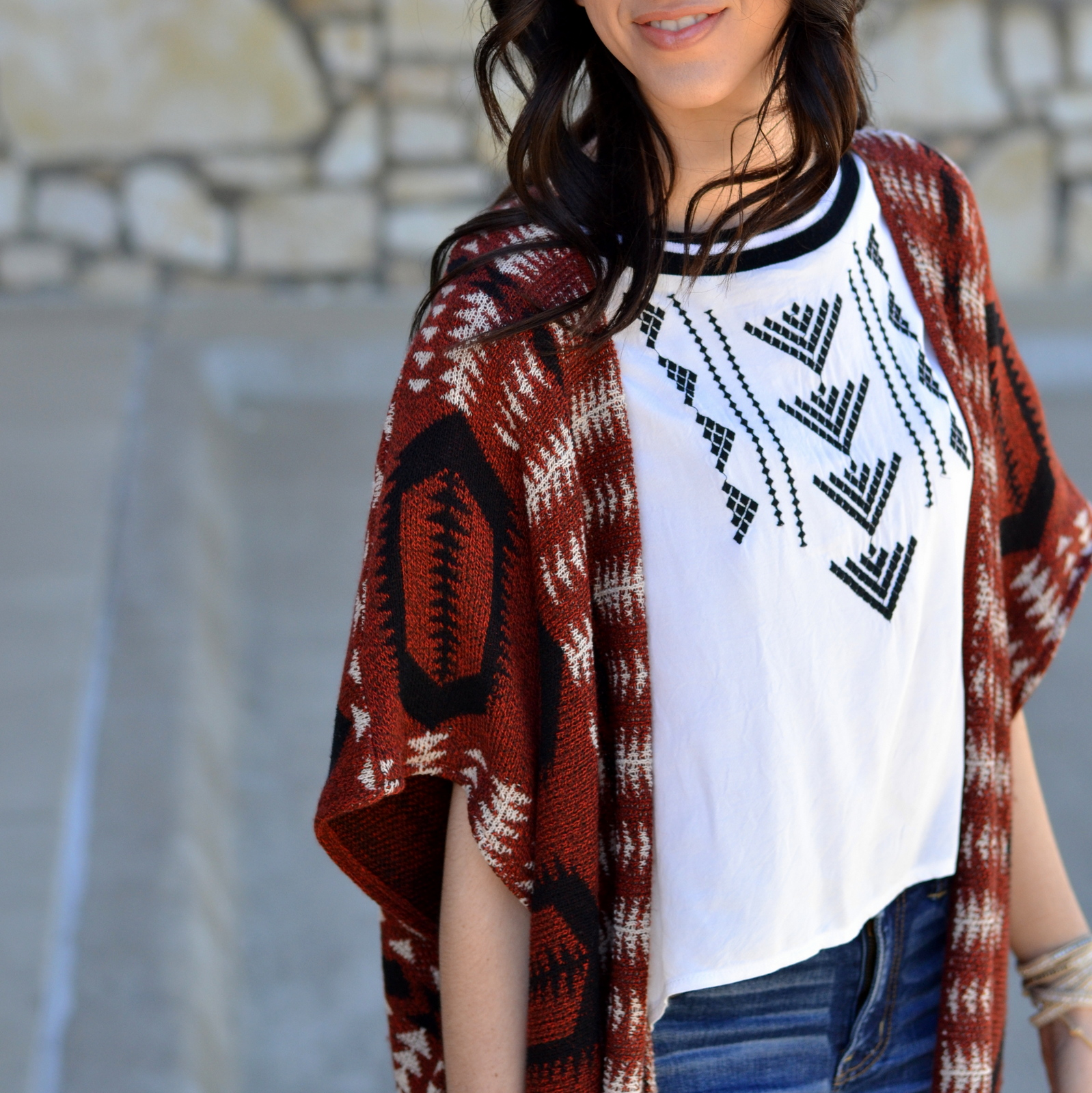How to style an aztec cardigan and crop top