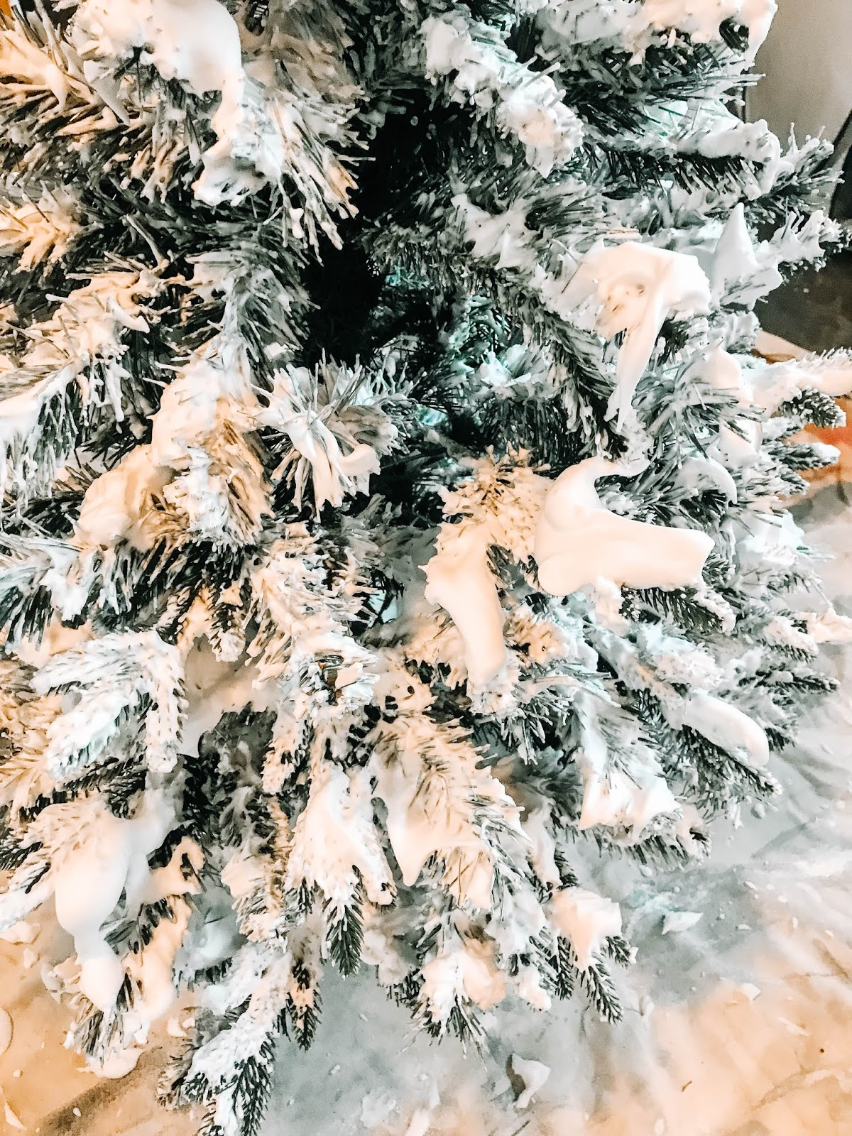 DIY Flocked Christmas Tree Using Supplies from the Dollar Store