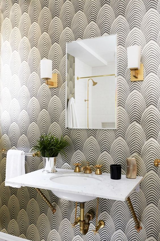 Bathroom Wallpaper Accent Wall Lilly Style