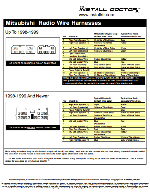 Mitsubishi+Radio+Wire+Harnesses+The+Install+download mitsubishi radio wiring diagram 2000 mitsubishi eclipse stereo wiring diagram at gsmx.co