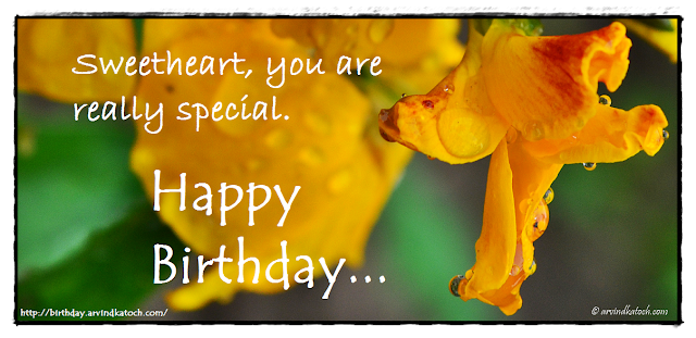 Birthday Card, Sweetheart, Yellow flower, Special, Wild flower