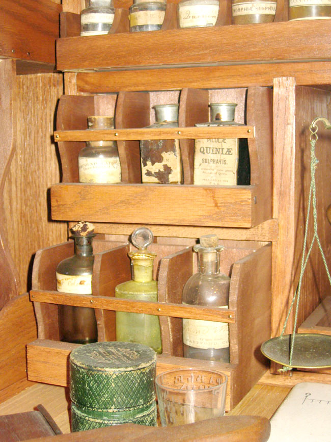 balance and small bottled medicines in autenrieth wagon