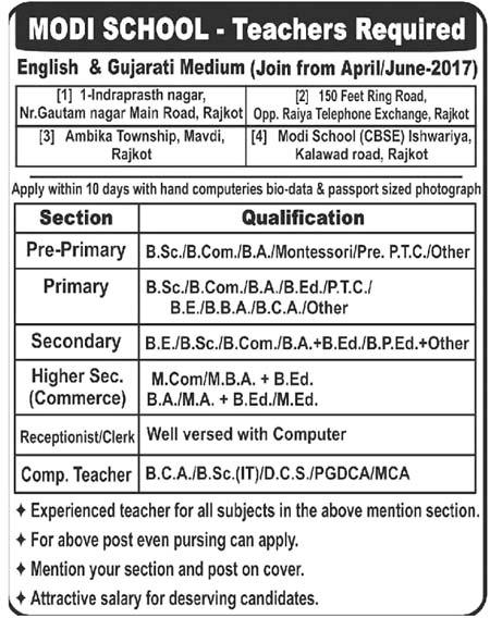 Modi School Rajkot Recruitment 2017 for Teachers & Receptionist / Clerk Posts