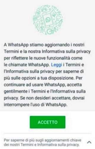 nuove condizioni di accettazione del servizio di whatsapp