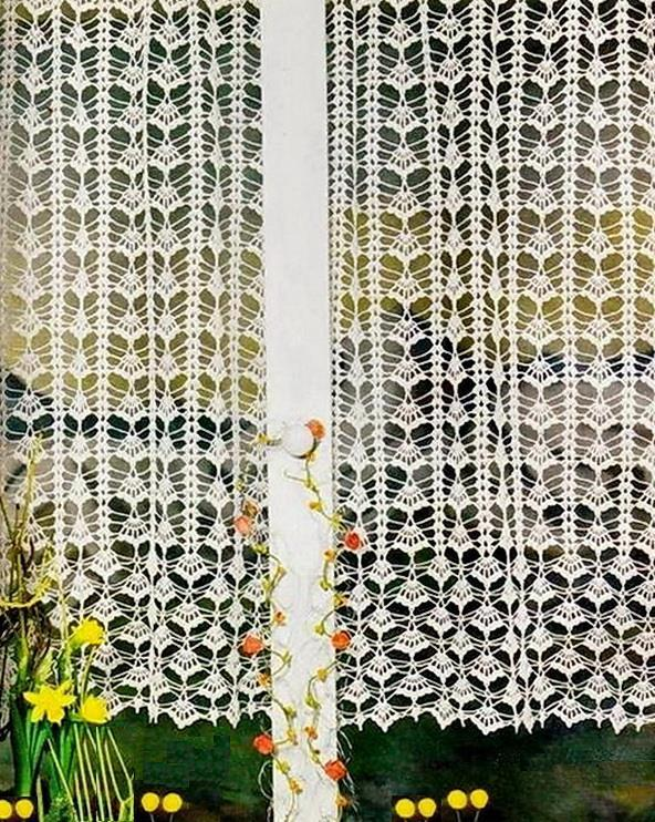 easy Crochet pattern of lace curtain, vintage