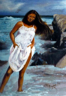 ~ On the Beach with Janie Mac  ~   Oil on canvas, 24 x 30, 1984  Collector not recorded. Timeless Expression by Maguire