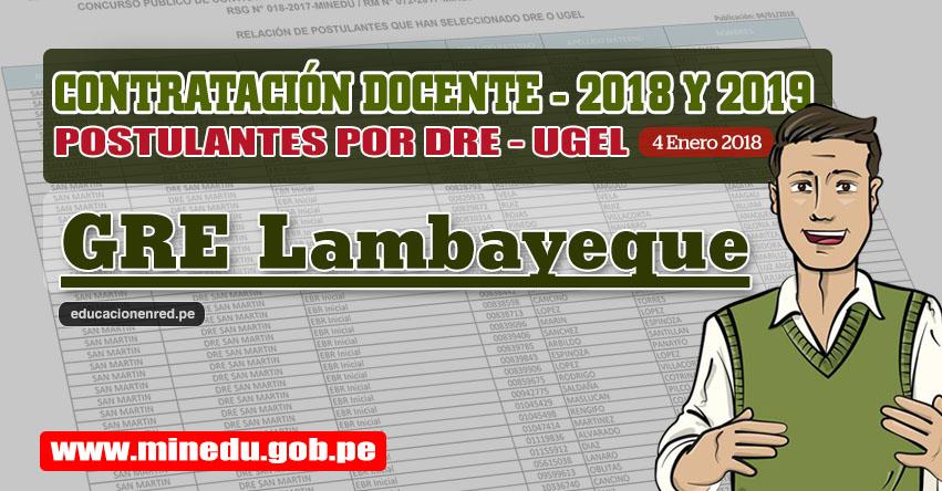 GRE Lambayeque: Lista de Postulantes por UGEL DRE - Contrato Docente 2018 (.PDF) www.educacion.regionlambayeque.gob.pe