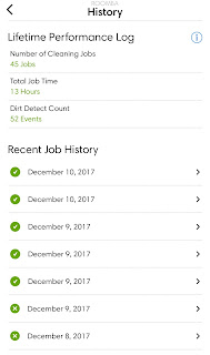 The home app shows you all of the past runs, how much time it cleaned and how many times it turned dirt detect mode on.