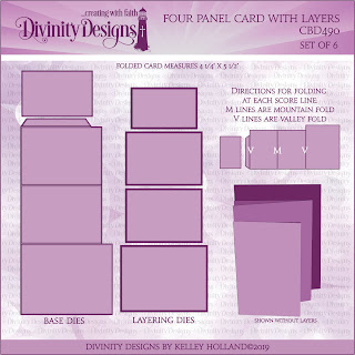 Divinity Designs LLC Custom Four Panel Card with Layers Dies