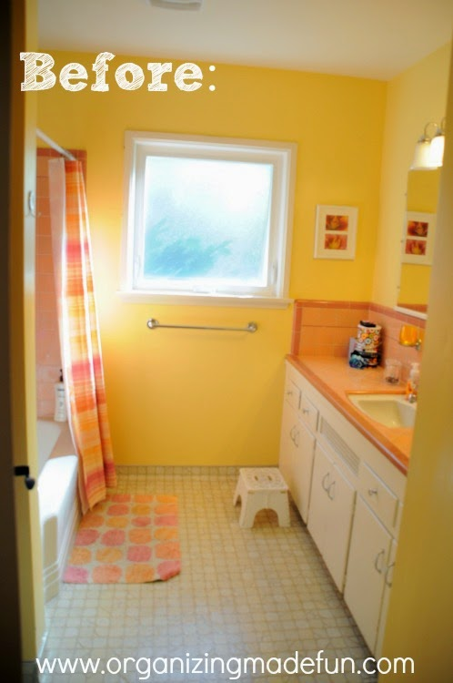 Before Kids Bathroom With Old Style Peach And Rose Colored Tile Organizingmadefun