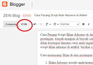 Cara Pasang Script Iklan Adsense di Artikel Cara Pasang Iklan Adsense di Tengah, Atas dan Bawah Artikel
