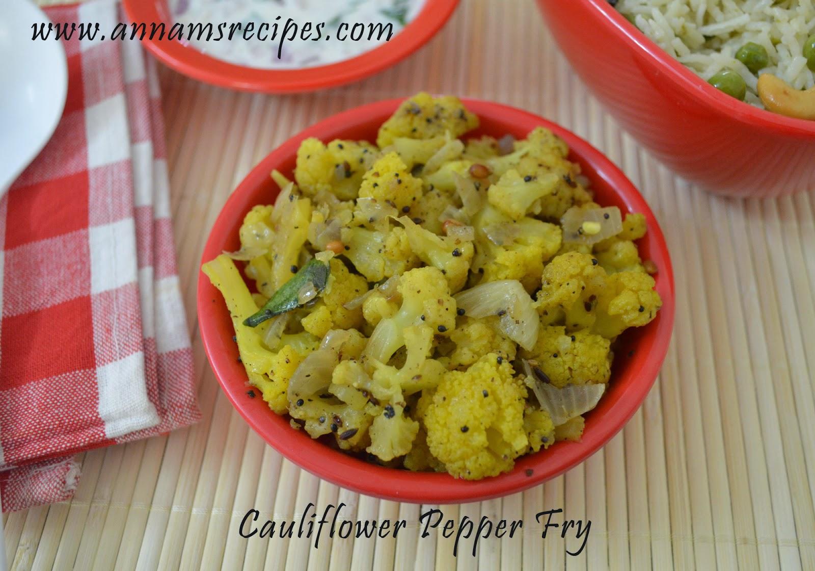 Cauliflower Pepper Fry (Chettinad)