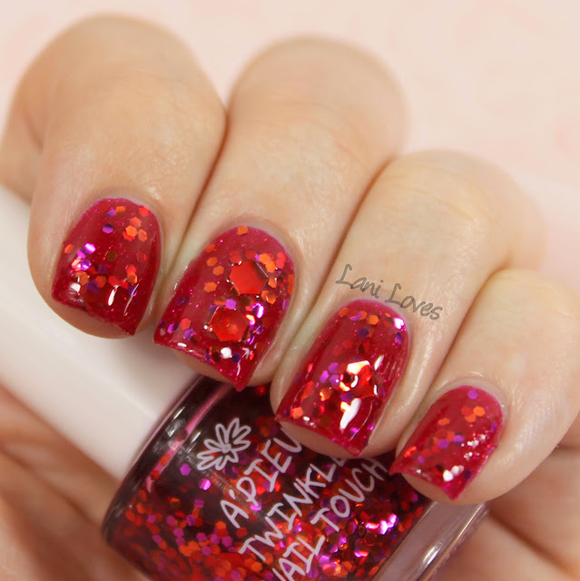 A'Pieu Twinkle Nail Touch RD01 nail polish swatch