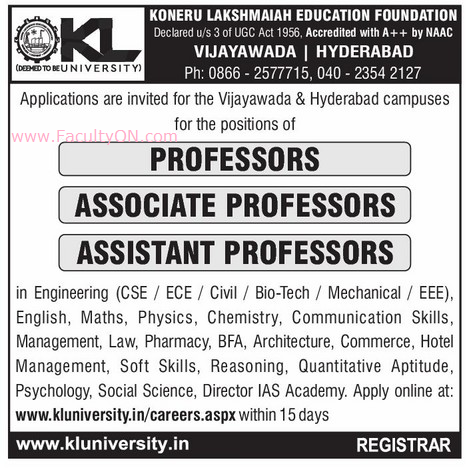 K L University, Vijayawada, Wanted Teaching Faculty