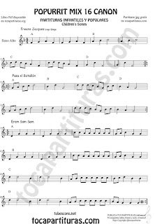 Partitura de Saxofón Alto y Sax Barítono Popurrí Mix 16 Partituras de Freere Jacques, Pasa el Batallón, Eram Sam Sam Sheet Music for Alto and Baritone Saxophone