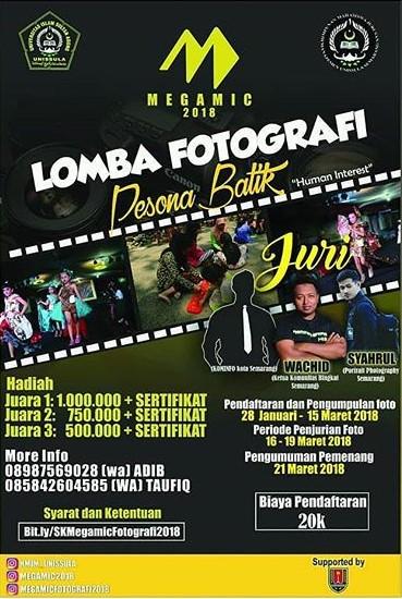 Lomba Fotografi Pesona Batik MEGAMIC 2018 UNISSULA Semarang