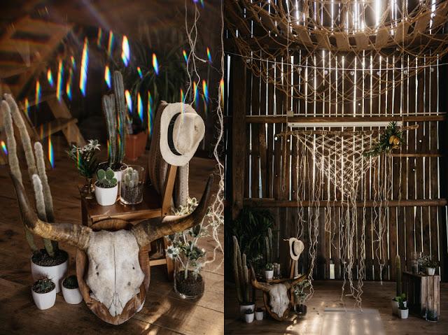 Stylowy plener ślubny boho w stodole.