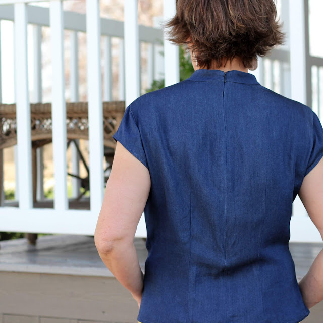Simplicity 8840 pleated top with back zipper in Mood Fabrics' Viscose Denim