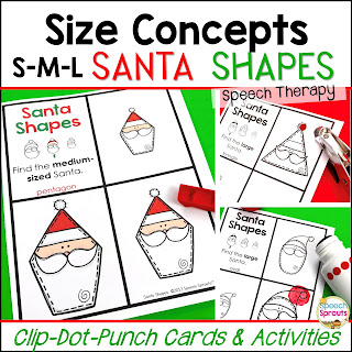 Teach the basic size concepts of small, medium and large with these fun Santa task cards in speech therapy this Christmas. Interactive fun as a clothespin task, dot marker activity or hole punch activity. Includes a BW mini-book. #speechsprouts #speechtherapy #Christmas #speechandlanguage #sped #preschool