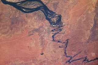 Vista de satélite del río Zambeze y las cataratas Victoria