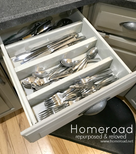 Silverware drawer sectioned organization for the kitchen