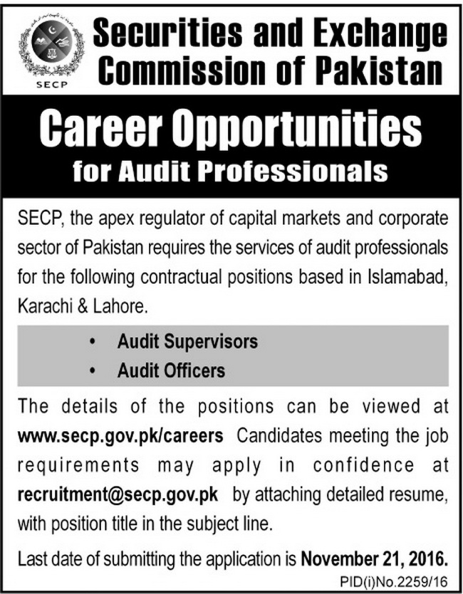 Audit Jobs in Islamabad Securities and Exchange Commission Jobs