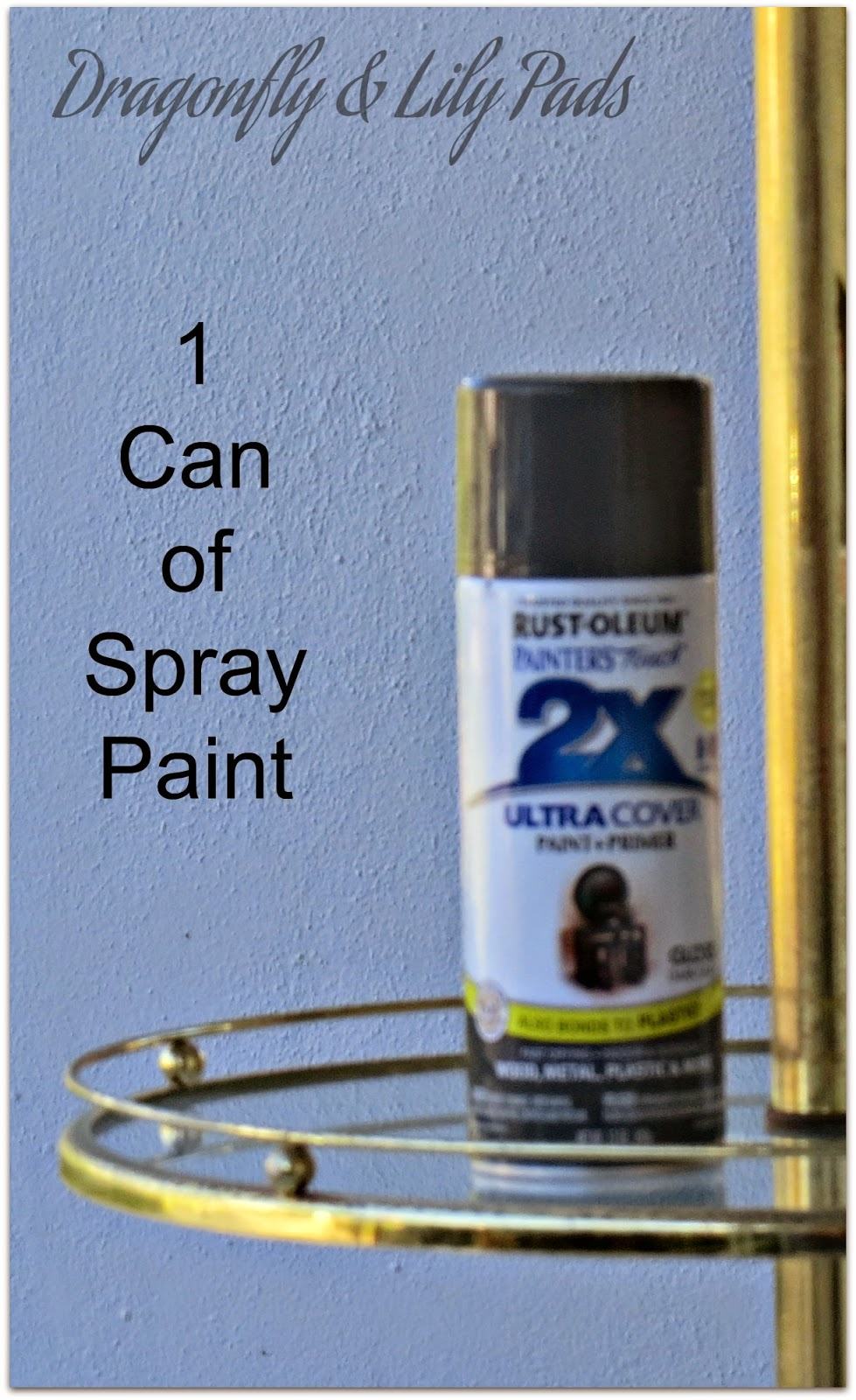 1 Can of Rust-Oleum 2 X Coverage Gray Spray Paint, Brass Lamp