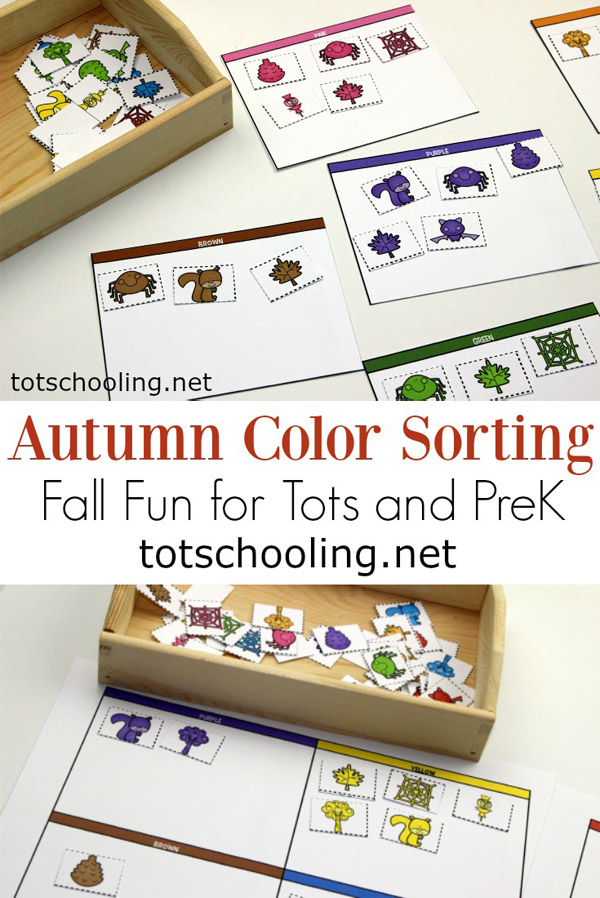 FREE Fall themed color sorting activity perfect for toddlers and preschoolers! Great seasonal activity that will get your preschooler learning colors and building vocabulary and language skills!