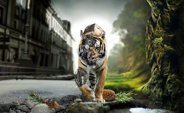 Robot wallpaper van een mechanische tijger