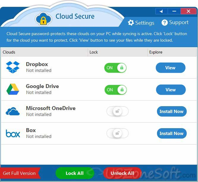 Cloud Secure- password-protect Dropbox, Google Drive, Microsoft One Drive and Box