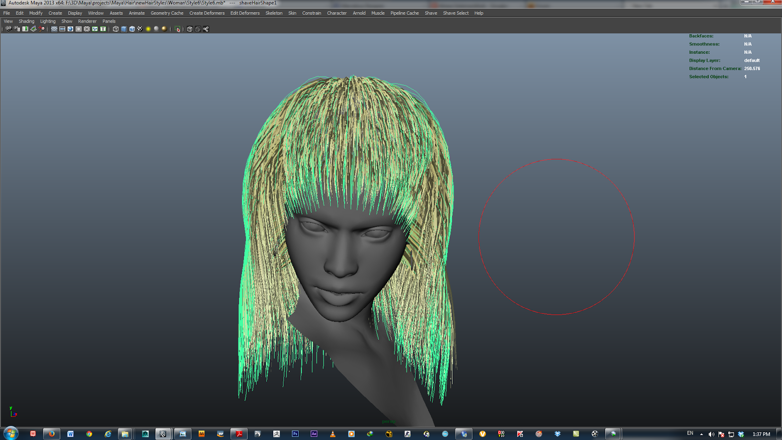 Autodesk Maya nHair_Styling the hair from the Hair Fashion