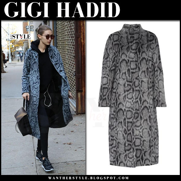 Gigi Hadid in grey leopard print coat elizabeth and james balin and black sneakers reebok hayasu what she wore