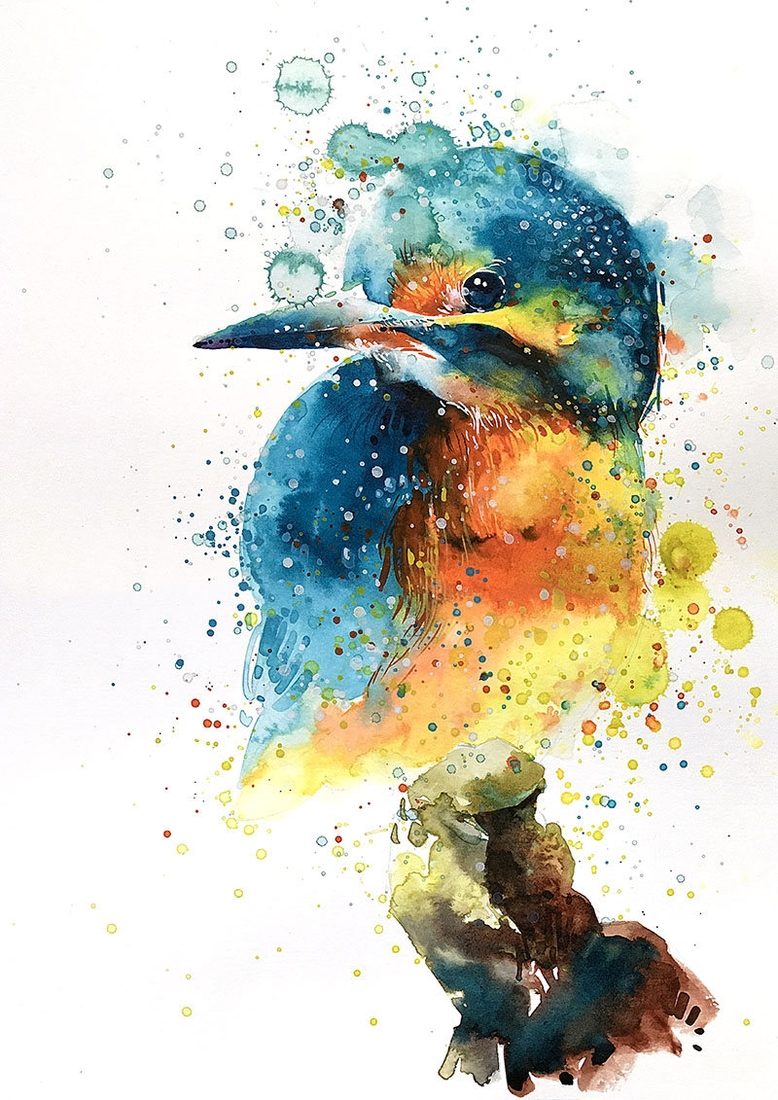 12-Kingfisher-Tilen-Ti-Colorful-Watercolor-Paintings-of-Animals-www-designstack-co