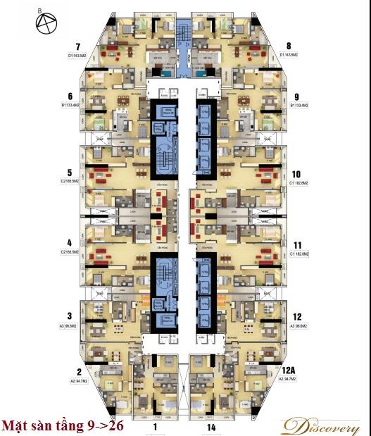 Mặt sàn tầng 9 đến 26
