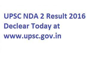 UPSC NDA 2 Result 2016