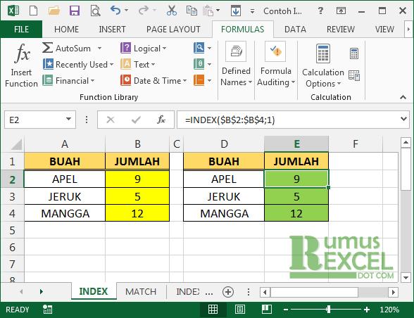 Contoh Fungsi Index Excel