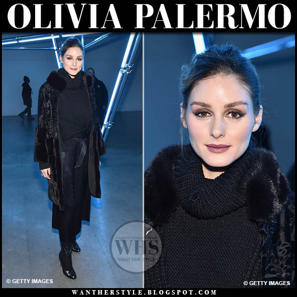 Olivia Palermo wears black fur coat, black sally lapointe sweater, black midi skirt with black boots fashion week outfits february 2019