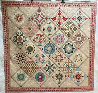 Antique Wedding Sampler Quilt made by Pippa