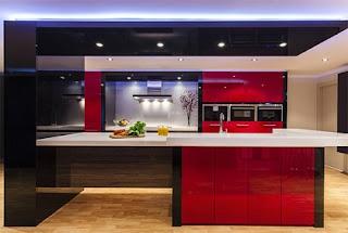 Cocina moderna color blanco rojo negro